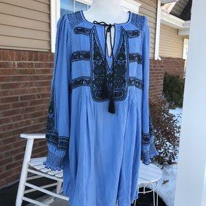 Blue Free People gauze embroidered tunic dress